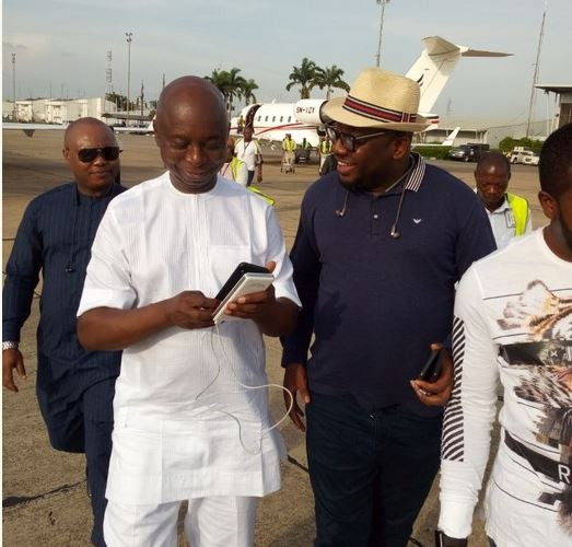 Photos: Billionaire politician, Ned Nwoko and his cute daughters strike a pose in his private jet