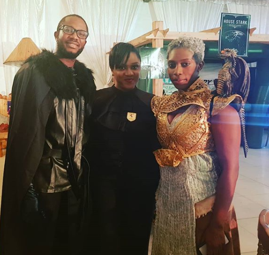 Photos: Banky W, Adesua, Ebuka, Bovi, Linda Ejiofor and hubby, Waje, others dress in their favorite #GameofThrones characters to IK Osakioduwa