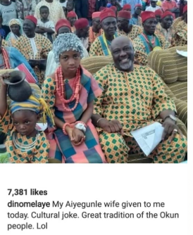 "Speed Darlington calls out Dino Melaye for making a joke of a little girl ""given to him as a wife"" at a ceremony in Kogi state"