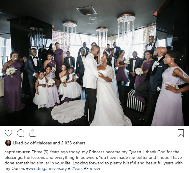 Captain Tunde Demuren shares photo from wedding day as he celebrates third wedding anniversary with Toolz