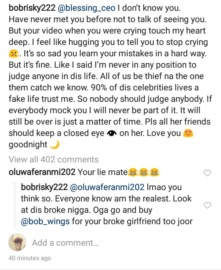Bobrisky sends message of support to relationship blogger, Blessing Okoro after she released a new video accusing Onye Eze of setting her up (video)