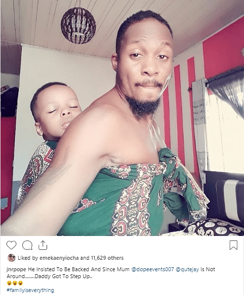 Actor Junior Pope Odonwodo backs his son in new adorable photo