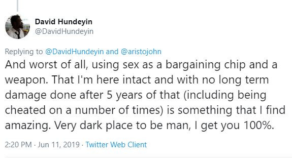 My ex-wife once?told me?that she daydreams about stabbing me because I left my plate on the sofa after eating - Nigerian writer, David Hundeyin