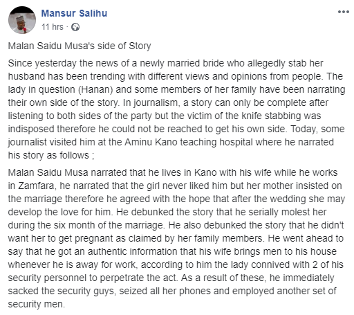 Man whose wife allegedly stabbed him in Kano shares his own side of the story