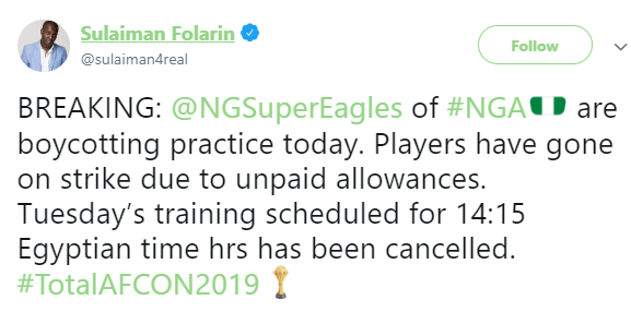 #AFCON2019: Super Eagles go on strike in Egypt over unpaid allowances