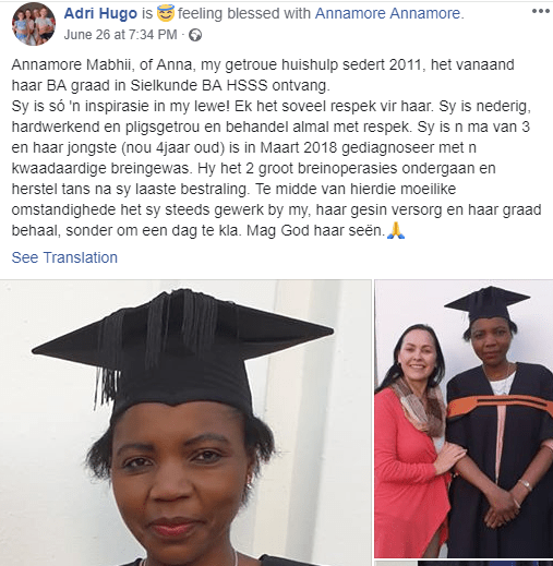 Lady celebrates househelp who graduated with a degree in Psychology