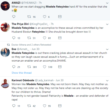 Nigerians drag Pastor Modele Fatoyinbo as another victim accuses her of enabling her husband Biodun abuse women