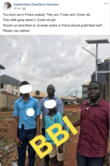 17 and 12 year old boys arrested for allegedly gang raping 12 year old girl in Asaba (photo)