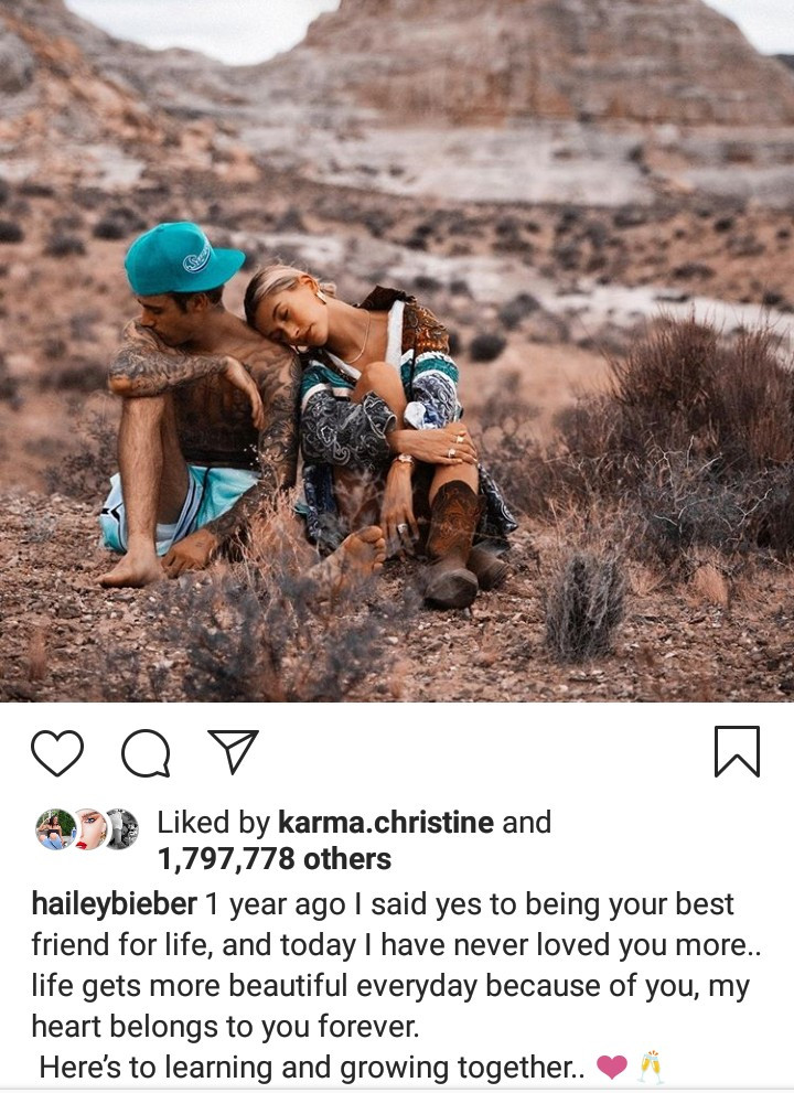 Hailey Bieber celebrates husband Justin as they mark their one year engagement anniversary