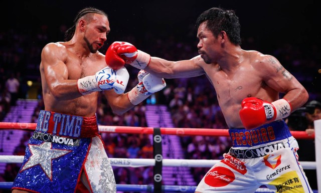 Manny Pacquiao wins WBA welterweight title after stunning victory over Keith Thurman in Las Vegas (Photos)