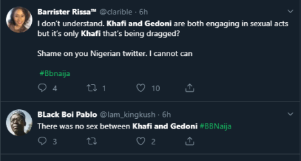 Nigerians react as BBNaija housemates, Gedoni and Khafi were caught having sex again (Watch Video)