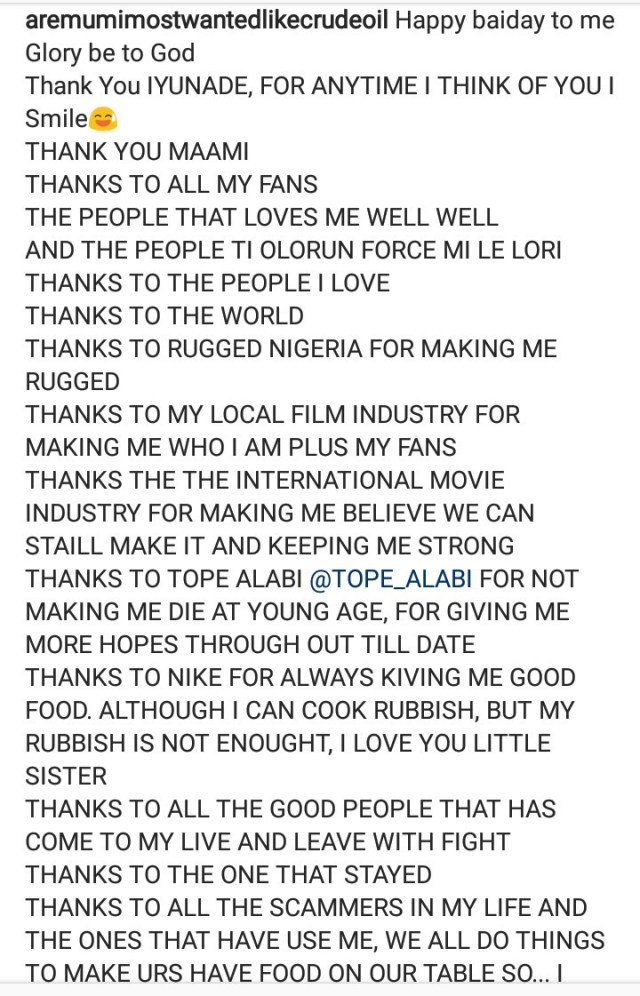 Aremu Afolayan throws shade at his brothers as he shares his life story to mark his birthday