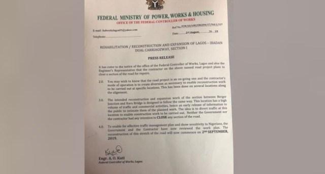 FG shifts closure of Lagos-Ibadan Expressway to September 2