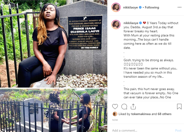 Nikki Laoye mourns her father on his 8th memorial