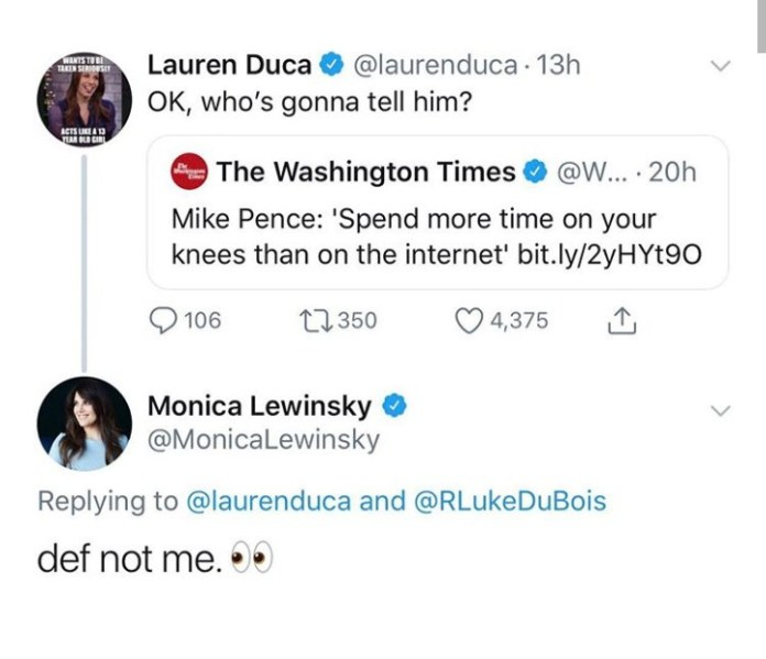Monica Lewinsky makes cheeky oral sex joke in response to Mike Pence