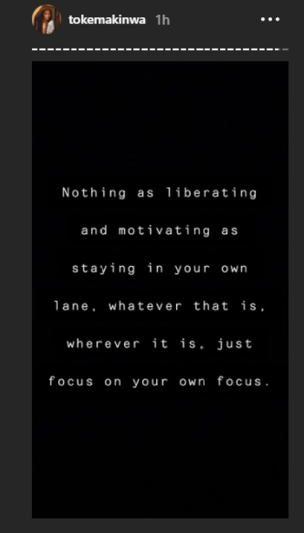 Nothing is as liberating and motivating as staying in your lane - Toke Makinwa