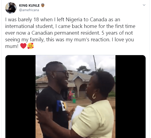 Nigerian mum gets emotional as her son returns home after 5 years in Canada (video)