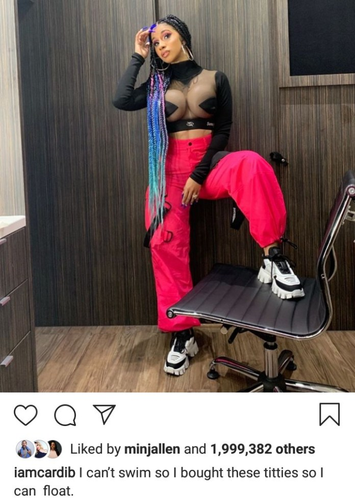 """Cardi B jokes about her surgically enhanced boobs that she """"bought"""""""