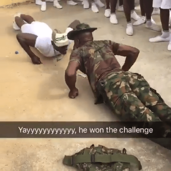 Corps member and soldier got into a push-up competititon and you won