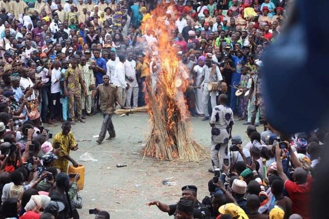 Ogun Masquerade, Danafojura, set on fire at an event (watch video)