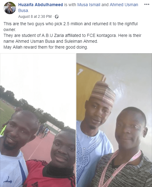 Federal College of Education?Kotongora students return N2.5m they found by the roadside