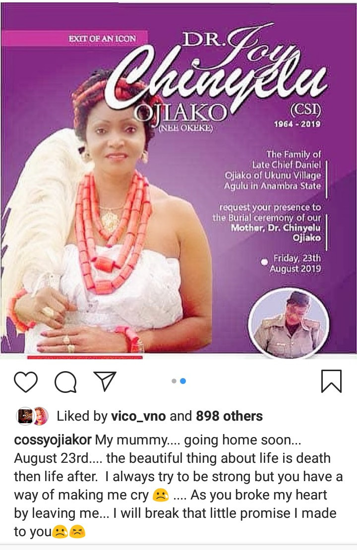 Cossy Ojiakor expresses anguish as her mother is to be laid to rest in the coming week