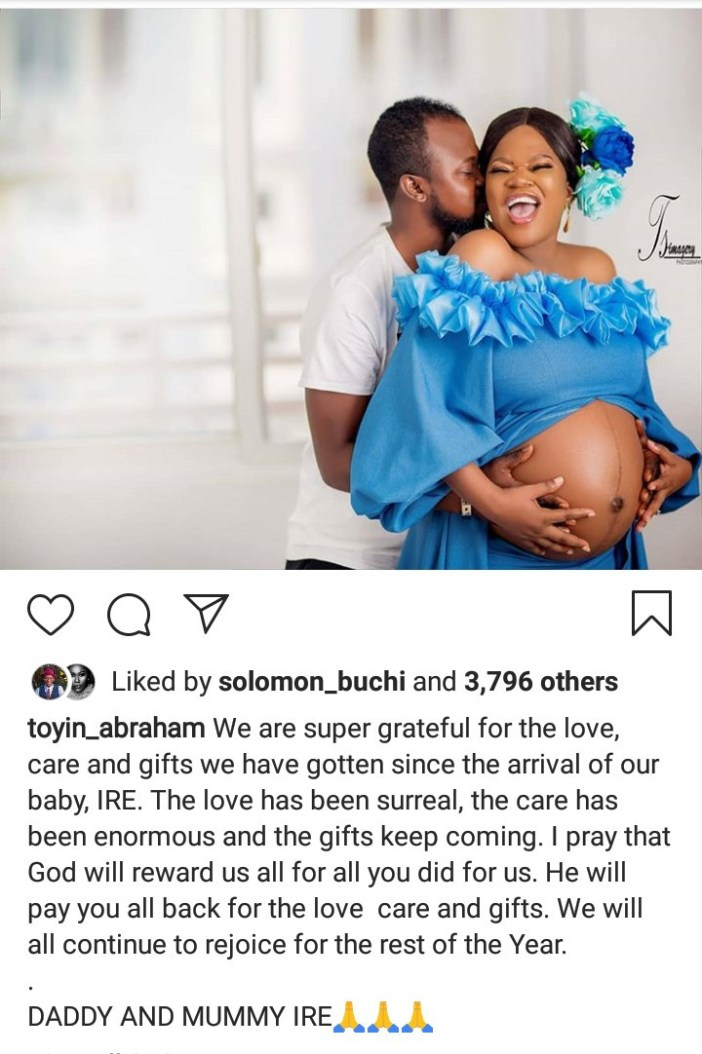 Toyin Abraham reveals the name of her newborn son