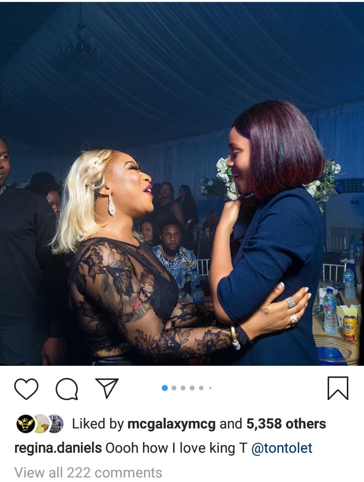 """How I Love King T"" Regina Daniels spouts subsequent to meeting Tonto Dikeh at an occasion 1"