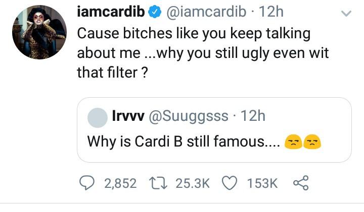 Cardi B slams follower who questioned why she