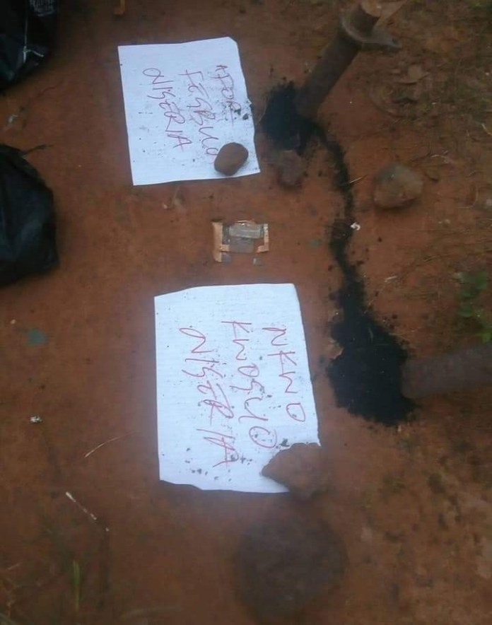 "IPOB activists in Enugu carry out ceremony to ""disconnect the connection between Biafra and Nigeria"""