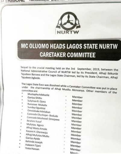 NURTW members reject MC Oluomo