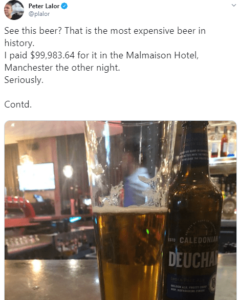 Man baffled after he was charged almost $100,000 for just one beer at a Manchester hotel