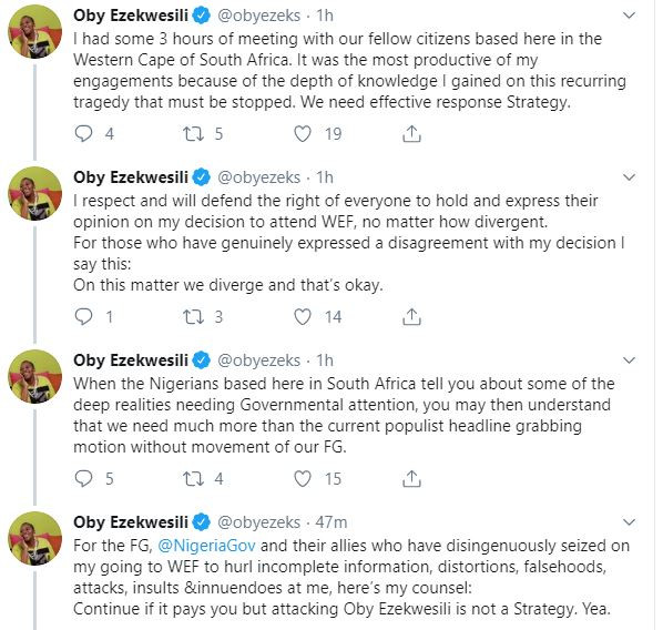 Why the Nigerian government?is after me for attending World Economic Forum in South Africa?? Oby Ezekwesili