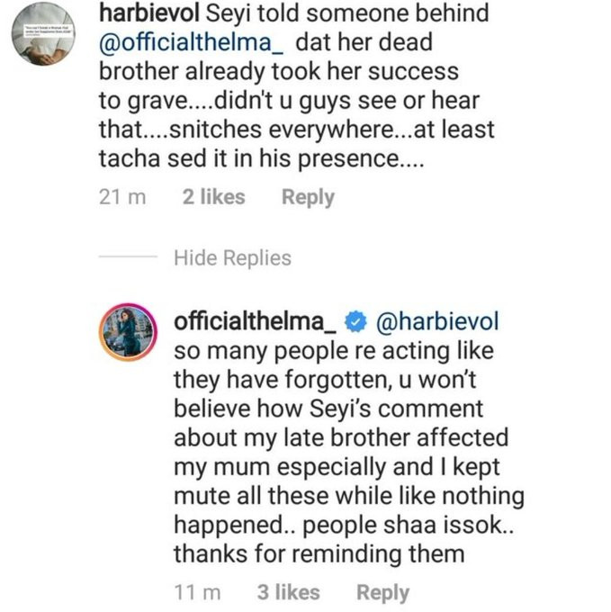 BBNaija: Thelma hails Tacha for saying Seyi is a non-achiever, reveals his comment of her late brother taking her success to the grave affected her mother
