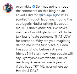 Oyemykke calls Etinosa an 'apologetic nudist' for saying she can't date him because he shouts too much lindaikejisblog 2