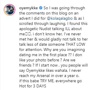 Oyemykke calls Etinosa an