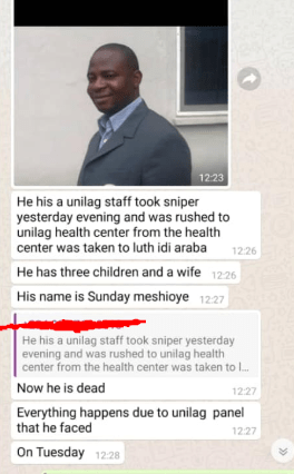 UNILAG Staff allegedly commits suicide (photos)