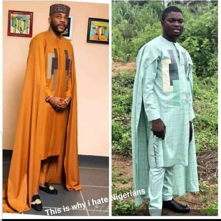 Nigerian man orders for Ebuka's cape agbada, see what his Tailor's made for him (photo)