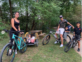Cristiano Ronaldo steps out with his adorable family as they enjoy bike ride together (Photos)