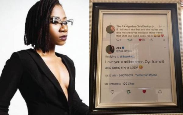 Between Asa and a fan who framed her response lindaikejisblog