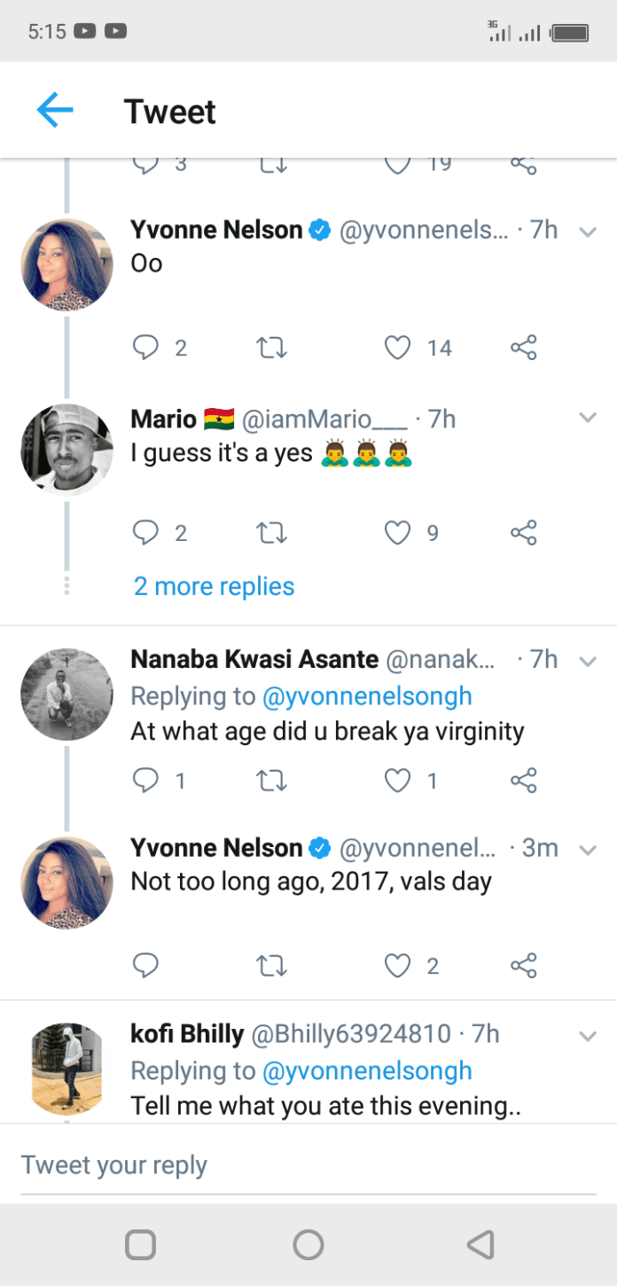 Yvonne Nelson claims she lost her virginity in 2017