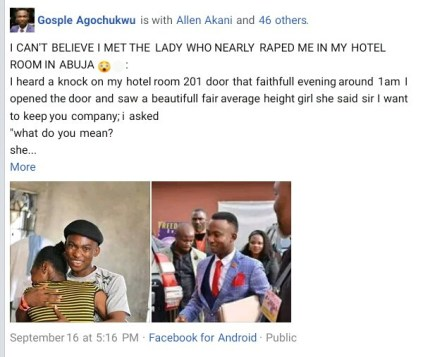 Nigerian pastor shares his encounter with a lady who nearly raped him in his hotel room in Abuja