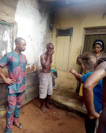 Man stripped naked, beaten to pulp for allegedly raping a 9-year-old girl in Umuahia (photos)