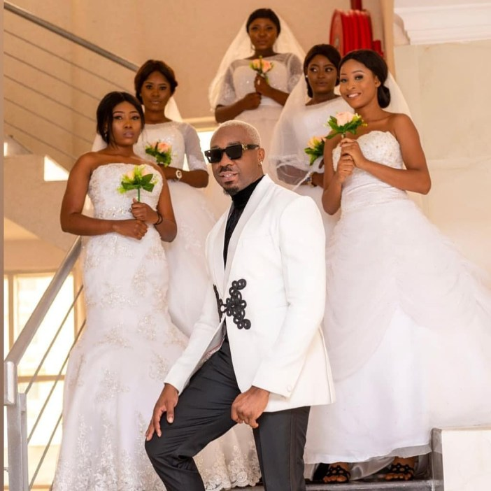 (Video) Pretty Mike Storms Wedding Reception With by Five Models Dressed as Brides