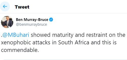 President Buhari�showed maturity and restraint on the xenophobic attacks in South Africa and this is commendable - Ben Bruce