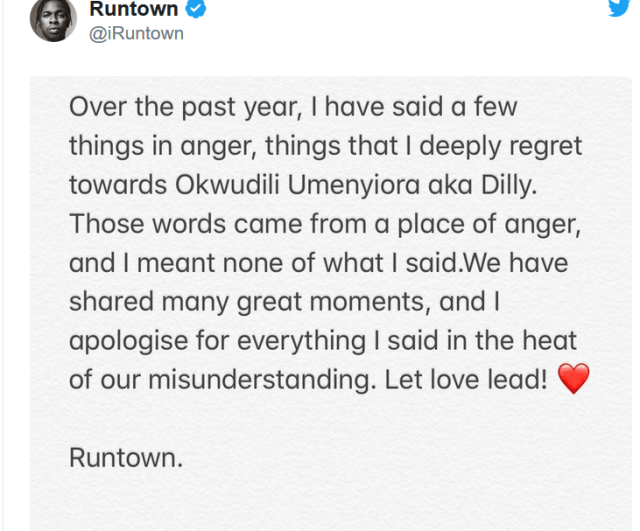 After Two years of legal battle, Runtown finally apologises to his ex-label boss, Dilly on Twitter