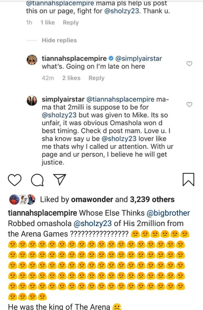 """Toyin Lawani accuses Big Brother Naija organizers of """"robbing"""" Omashola of the Arena Games money in favour of Mike"""
