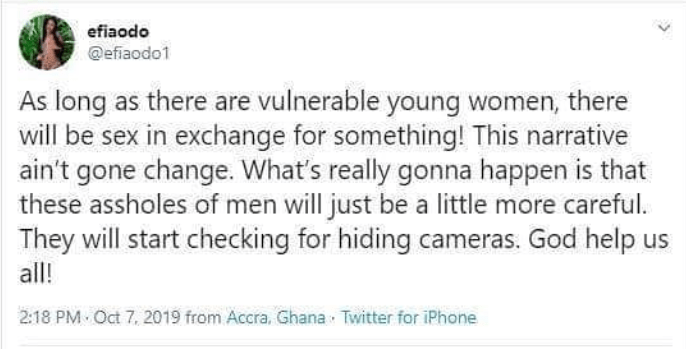 Sex for grades and jobs won?t end, there will always be sex in exchange for something ? Actress Efia Odo
