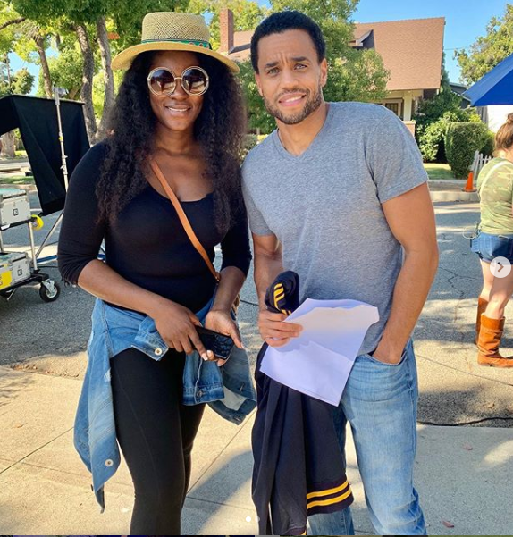 Nollywood actress,?Stephanie Okereke-Linus pictured with US actor Michael Ealy (Photos)