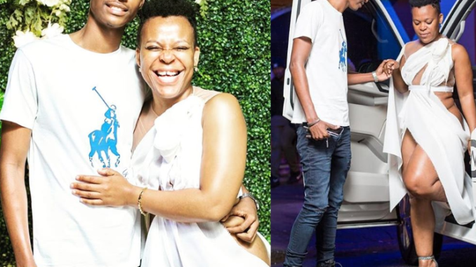'Pantless dancer' Zodwa Wabantu pictured with her new young lover after dumping the previous one she was engaged to (Photos)